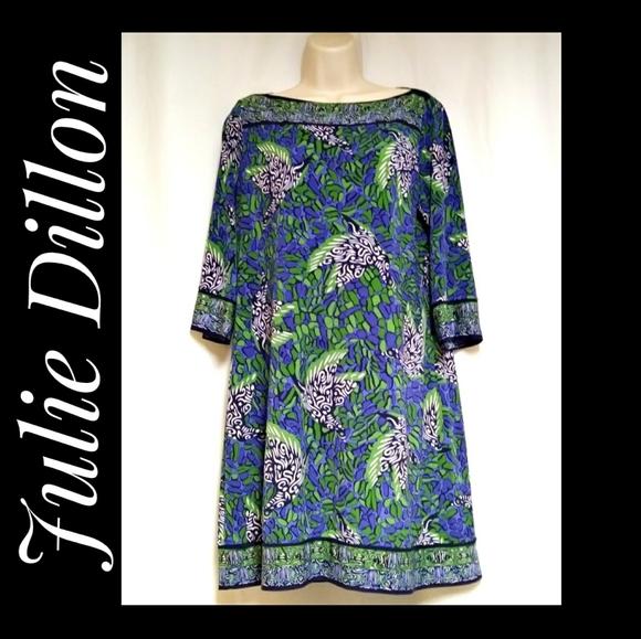 Julie Dillon New York Shift Dress Blue Green